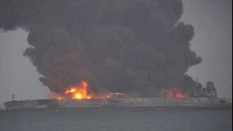 تصادف یک تانکر نفتی در سواحل چین