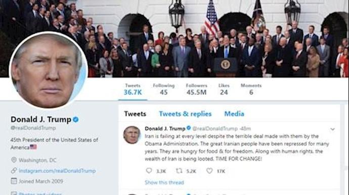 توییت رئیسجمهور آمریکا