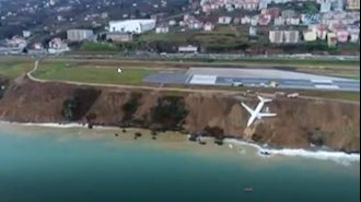 هواپیمای مسافربری ترکیه در شیب پرتگاه مشرف به دریا متوقف شد