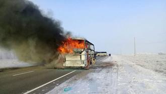 اتوبوس منفجرشده در  جاده سامارا به چیمکند