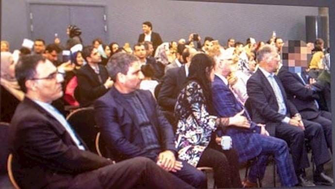 محمد داوودزاده مأمور اطلاعات –وزیر نروژی و زن ایرانی –محمد حسن حبیب اللهزاده سفیر رژیم در نروژ (نفر اول از چپ)