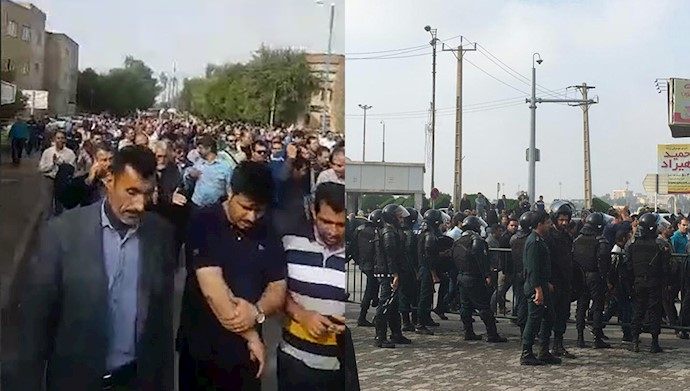 تظاهرات کارگران فولاد اهواز و حضور نیروهای سرکوبگر