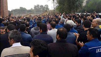 تجمع اعتراضی کارگران گروه ملی فولاد اهواز