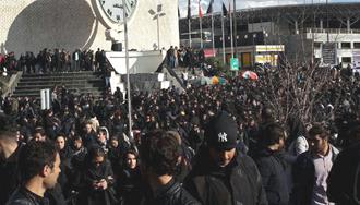 تجمع و تظاهرات دانشجویان در دانشگاه علوم و تحقیقات تهران