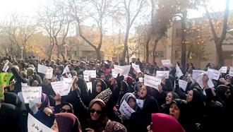 اعتراض معلمان و فرهنگیان استان اصفهان جلوی آموزش و پرورش استان