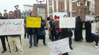 اهواز - تجمع خانوادههای بازداشتی کارگران فولاد اهواز مقابل استانداری رژیم - ۴دی۹۷