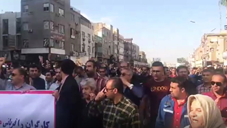 تظاهرات کارگران فولاد اهواز در بیست و سومین روز ۱۱ آذر