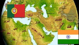 موقعیت هند و پرتغال بر روی نقشه