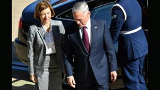 جیمز متیس وزیر دفاع آمریکا و فلورنس پارلی وزیر دفاع فرانسه