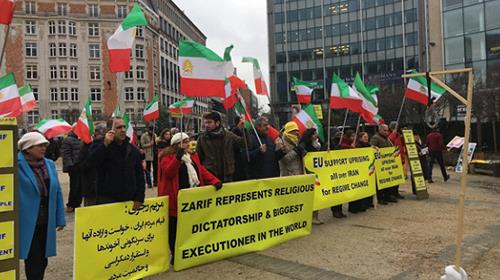 Iranian opposition protest ahead of the Iran nuclear talks in Brussels