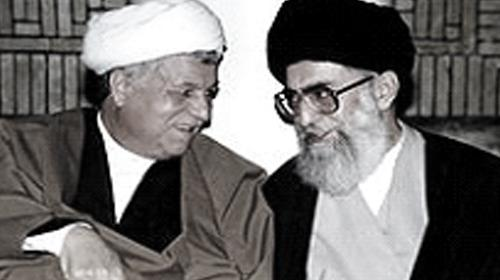 Ali Khamenei (R) speaks with  Hashemi Rafsanjani during a meeting in Tehran