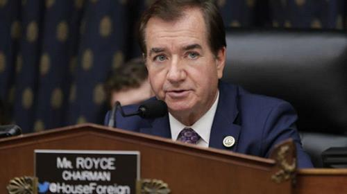 House Foreign Affairs Committee Chairman Ed Royce, R-Calif., presides over a markup of a bill to expand sanctions against Iran with respect to its ballistic missile program, on Capitol Hill in Washington, Oct. 12, 2017.