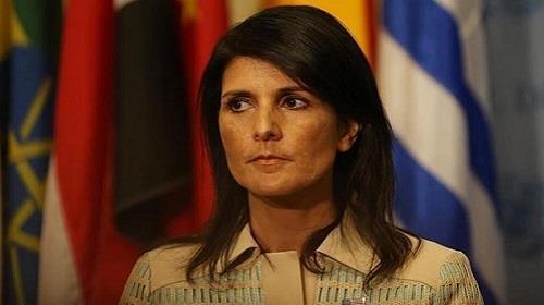المندوبة الأمريكية الدائمة لدى الأمــم الـــمــتـحــدة، السفيرة نيكي هيلي