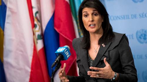 U.S. ambassador to the United Nations Nikki Haley speaks during a brief press availability at United Nations headquarters, on Jan. 2, 2018