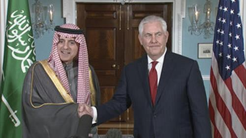 Secretary of State Rex Tillerson welcomes his Saudi Arabia Foreign Minister Adel al-Jubeir to State Department Friday.