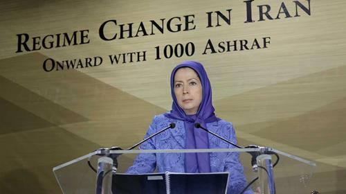 Maryam Rajavi speaks at a conference in Paris, France