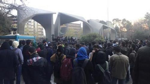 Photo of the social media shows protesters near Tehran University on December 30.
