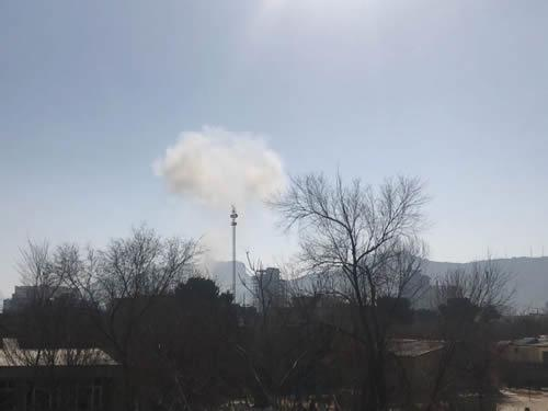 Smoke rises into the sky in Kabul, Afghanistan, following an explosion near the former Interior Ministry's building