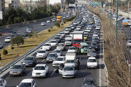 A general view of the traffic on a main highway in Tehran on January 3, 2018.