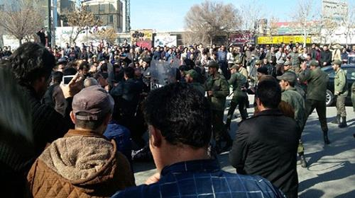 Iranian authorities clash with demonstraters in several city in the country.