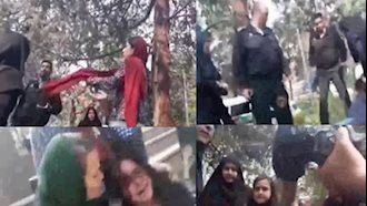 ضرب و شتم زن جوان توسط نیروهای سرکوبگر موسوم به گشت ارشاد