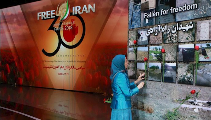 مریم رجوی -  گل گذاری بر نماد شهیدان راه  آزادی - همایش بزرگ ایرانیان در پاریس