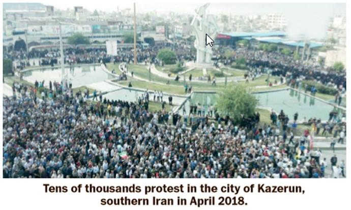 دهها هزار معترض در شهر کازرون، جنوب ایران در 2018آوریل
