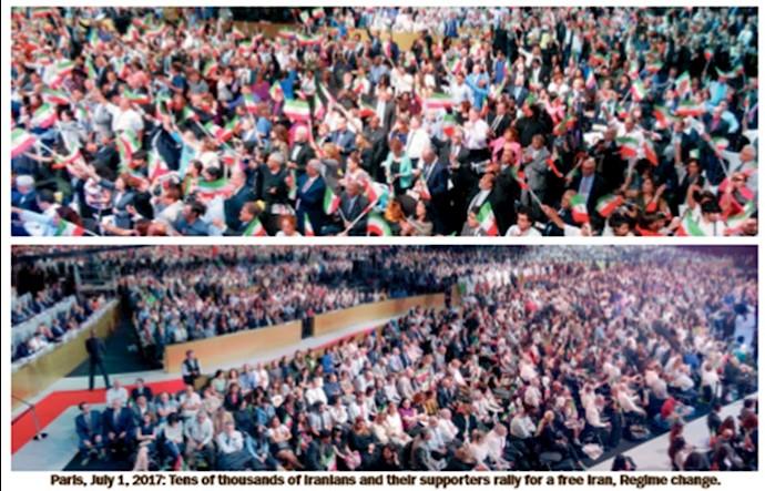 پاریس، اول ژوئن 2017: دهها هزار ایرانی و حامیانشان در گردهمایی برای ایران آزاد، تغییر رژیم
