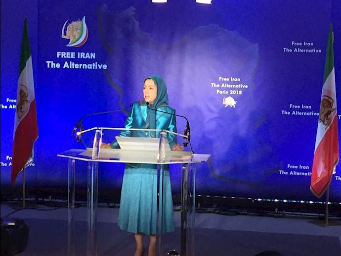 مریم رجوی در کنفرانس مطبوعاتی قبل از مراسم گردهمایی بزرگ ایرانیان