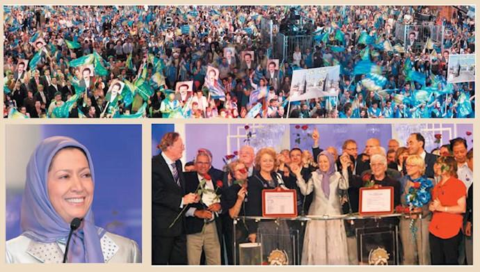 مریم رجوی در همایش پنجاه هزار نفره در ویلپنت ـ ۹تیر ۱۳۸۶
