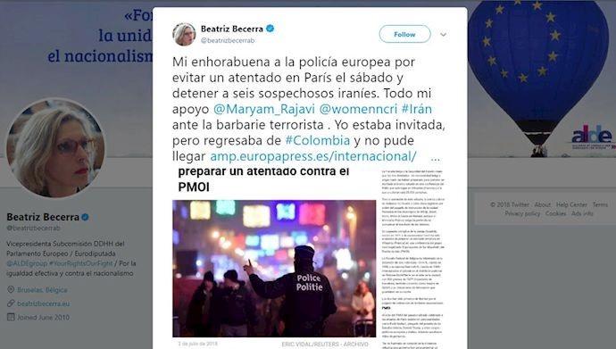 توئیت بئاتریس بسرا عضو پارلمان اروپا