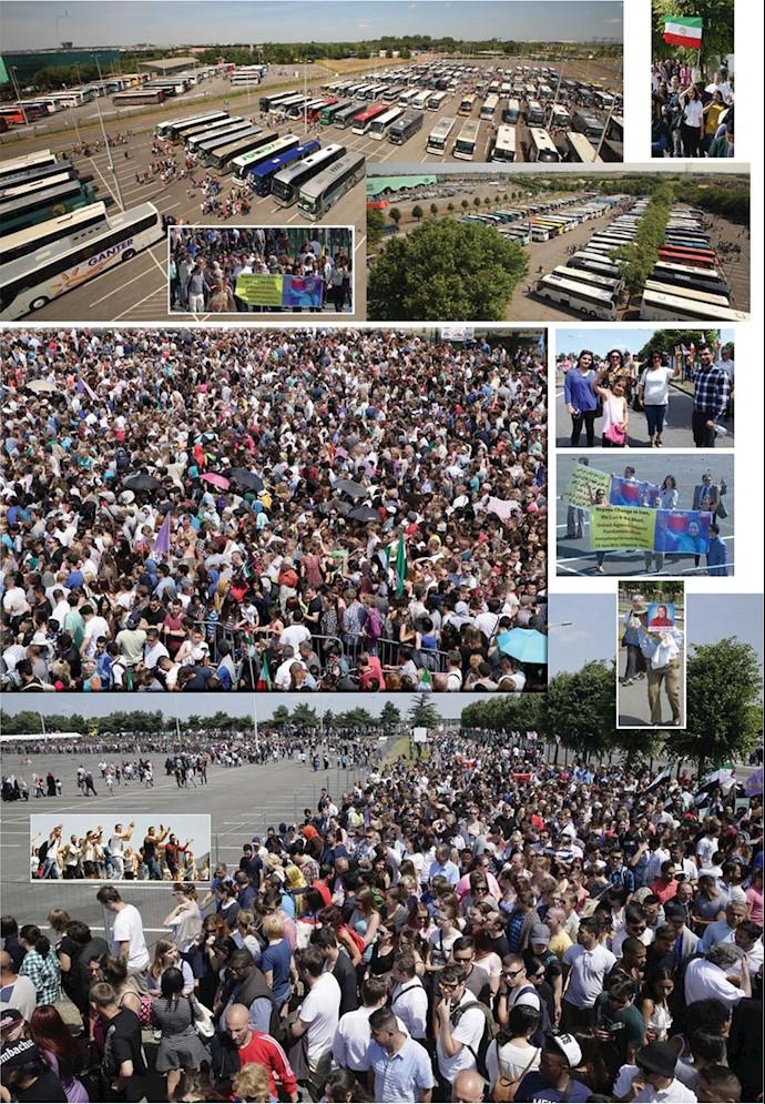 تجمع جمعیت هنگام ورود به گردهمایی بزرگ مقاومت در سال ۱۳۹۴