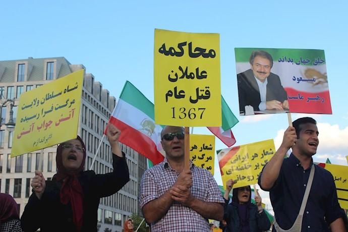 تظاهرات ایرانیان آزاده و اشرفنشانها در برلین در حمایت از تظاهرات و قیام مردم ایران