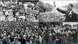 ماتین لوتر گینگ در تظاهرات ۲۵۰هزار نفره سیاهپوستان آمریکا
