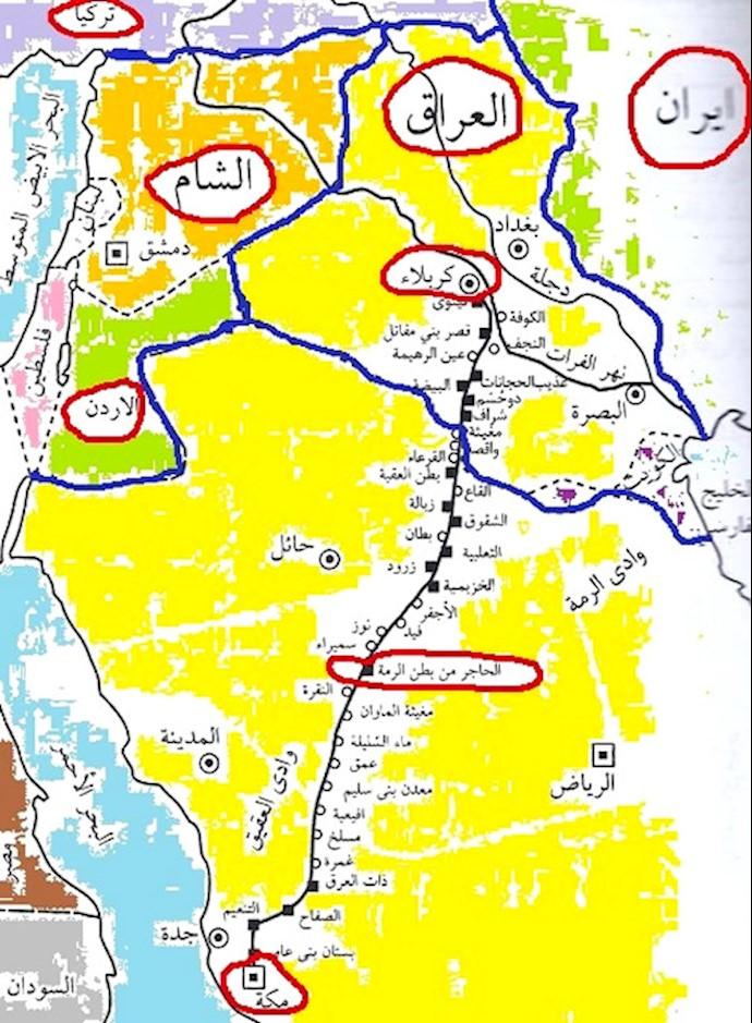 نقشه قلمرو اسلام در زمان امام حسین(ع)