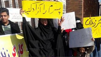 اهواز.تجمع خانواده های کارگران زندانی فولاد