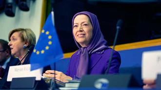 سخنرانی مریم رجوی در پارلمان اروپا - استراسبورگ– معرفی کتاب جنایت علیه بشریت - قتل عام ۶۷