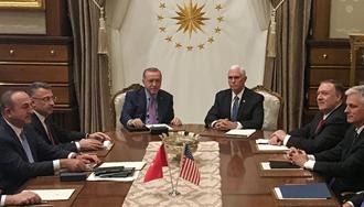 دیدار مایک پنس معاون رئیسجمهور آمریکا و رجب طیب اردوغان رئیسجمهور ترکیه
