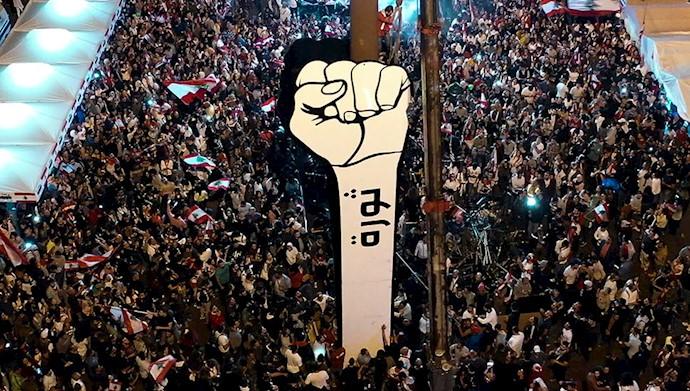 برپا کردن نماد مشت انقلاب در لبنان