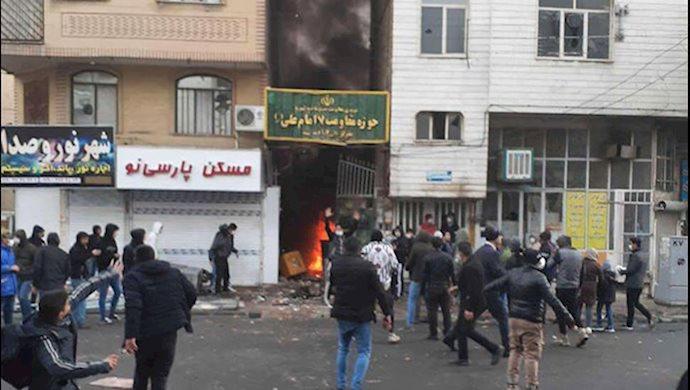 به آتش کشیدن پایگاه بسیج ضدمردمی در تهران