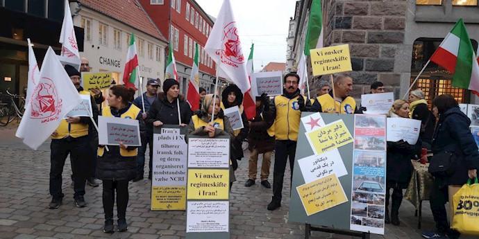 آرهوس دانمارک - حمایت حامیان مقاومت و مجاهدین از قیام سراسری مردم ایران