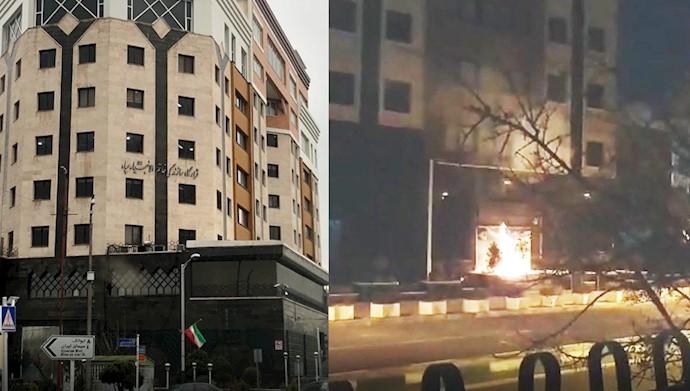 به آتش کشیده شدن ورودی قرارگاه خاتم الانبیا