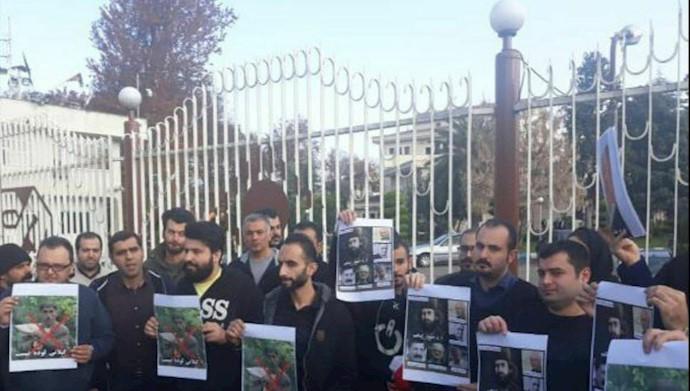 تجمع اعتراضی مردم در مقابل صدا و سیمای آخوندی در رشت