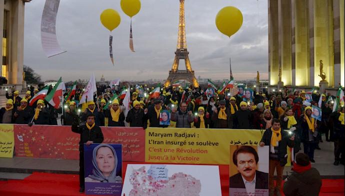 تظاهرات ایرانیان در پاریس در حمایت از قیام سراسری ایران - ۱۱ آذر ۹۸