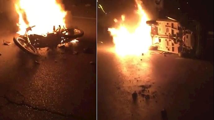درگیری مردم خشمگین اندیمشک با مأموران سرکوبگر و به آتش کشیدن