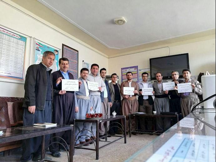 تحصن سراسری معلمان - شهرستان مریوان- ۱۲اسفند۹۷