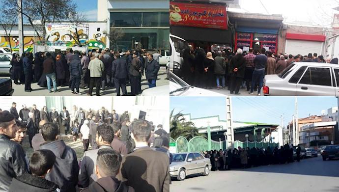 صف های طولانی برای خرید گوشت و مرغ یخ زده و پرتقال در شهرهای تبریز، ساری، اردبیل، بندرعباس و سنقر کلیایی