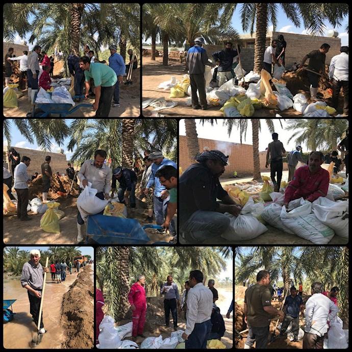 گزارش تصویری از تلاش داوطلبان شهر آغاجاری در کمک به مناطق سیلزده