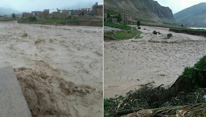 روستای پران پرویز پلدختر درمحاصره سیلاب