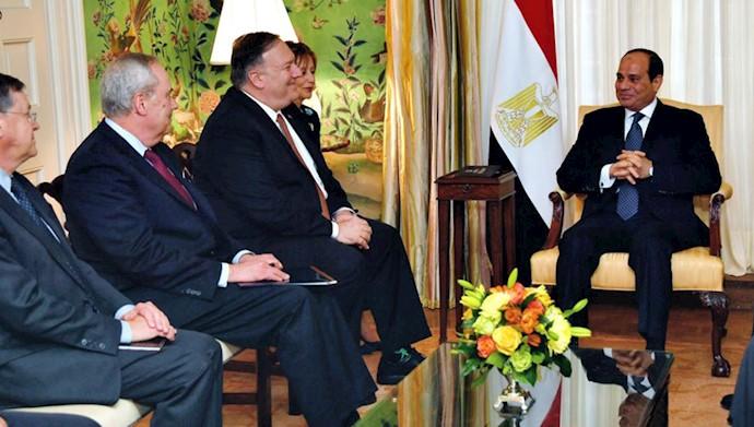 تقدیر مایک پمپئو از رئیس جمهوری مصر بخاطر همکاری در مقابله با اقدامات بدخواهانه رژیم ایران